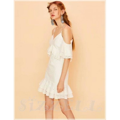 """THE """"PAMELA"""" EYELET LACE RUFFFLED COLD SHOULDER LUXURY DRESS ..."""