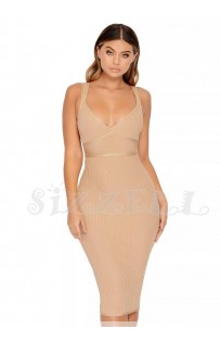 "THE ""MILLA"" LUXURY NUDE RIBBED BANDAGE DRESS...."