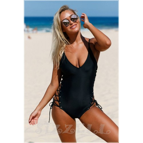"THE ""KENDRA"" ONE-PIECE LACE UP LUXE SWIMSUIT... BLACK..."