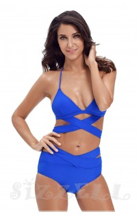 "THE "" LILLY"" CUT OUT CRISSCROSS HALTER LUXE BIKINI W/ HIGH WAISTED BOTOM... ROYAL BLUE..."