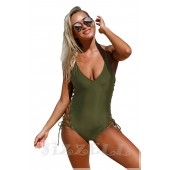 """THE """"KENDRA"""" ONE-PIECE LACE UP LUXE SWIMSUIT... OLIVE..."""