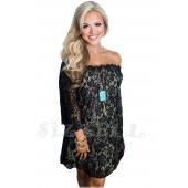 """THE """" MAYA"""" LUXE LACE OFF THE SHOULDER DRESS... BLACK..."""