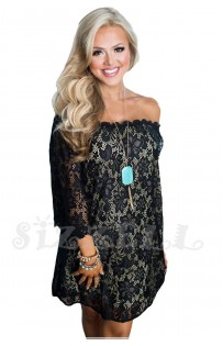 "THE "" MAYA"" LUXE LACE OFF THE SHOULDER DRESS... BLACK..."