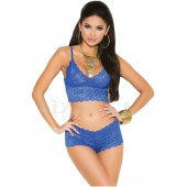 "THE ""GENIE"" LUXE LACE BRALETTE & BOOTY SHORTS.... ROYAL BLUE..."
