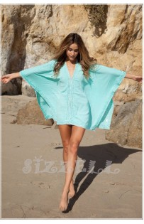 "THE ""BOHO"" LACE TRIM KIMONO COVER-UP DRESS... TROP BLUE..."