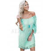 """THE """" MAYA"""" LUXE LACE OFF THE SHOULDER DRESS... MINTY BLUE"""
