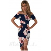 """THE """"LEAH"""" FLORAL OFF SHOULDER RUFFLE FRONT WRAP LUXE MIDI DRESS... NAVY  FLORAL..."""