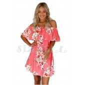 """THE """"GRIER"""" LUXE OFF SHOULDER FLOWY RUFFLED DRESS.... CORAL...."""