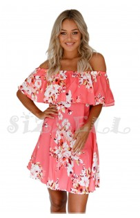 "THE ""GRIER"" LUXE OFF SHOULDER FLOWY RUFFLED DRESS.... CORAL...."