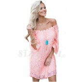 """THE """" MAYA"""" LUXE LACE OFF THE SHOULDER DRESS... PINK LEMONADE..."""