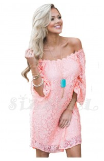 "THE "" MAYA"" LUXE LACE OFF THE SHOULDER DRESS... PINK LEMONADE..."