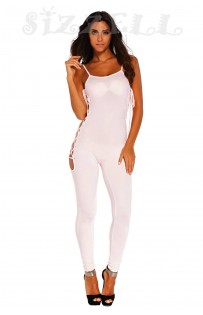 "THE ""SAGE"" LUXE BODYCON OPEN LACE-UP SIDE JUMPSUIT... WHISPER PINK..."