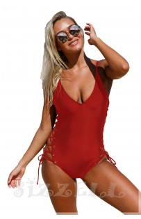 "THE ""KENDRA"" ONE-PIECE LACE UP LUXE SWIMSUIT...  POMEGRANATE ..."