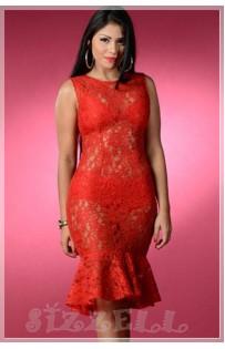 "THE"" ROSA"" LUXE RED LACE DRESS W/ PEPLUM HEM..."