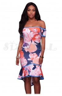 "THE ""SABRINA"" LUXE OFF SHOULDER FLORAL W/ HIGH LOW MERMAID HEMLINE... NAVY FLORAL..."