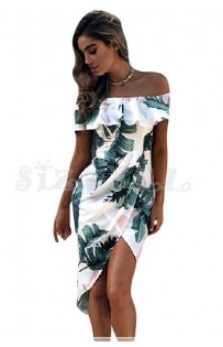 """THE """"LEAH"""" FLORAL OFF SHOULDER RUFFLE FRONT WRAP LUXE MIDI DRESS... WHITE TROPICAL PALM..."""