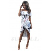 """THE """"LEAH"""" FLORAL OFF SHOULDER RUFFLE FRONT WRAP LUXE MIDI DRESS... WHITE FLORAL..."""