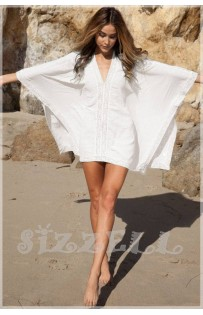 "THE ""BOHO"" LACE TRIM KIMONO COVER-UP DRESS... WHITE..."