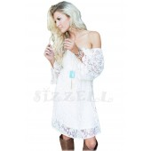 """THE """" MAYA""""  LUXE LACE OFF THE SHOULDER DRESS...  WHITE..."""