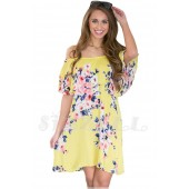 "THE ""GRIER"" LUXE OFF SHOULDER FLOWY RUFFLED DRESS.... LEMON...."
