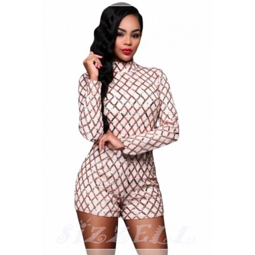 "THE ""AUDREY"" LUXE LONG SLEEVED SEQUIN ROMPER... IVORY/ ROSE GOLD..."