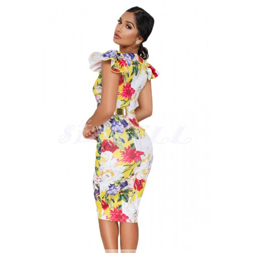 """THE """"LIVVI"""" LUXE FLORAL MIDI BODYCON DRESS W/ RUFFLE CAP SLEEVES... YELLOW FLORAL..."""