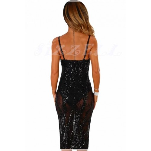 "THE ""KIMMY"" SHEER & SEQUINS LUXE BODYSUIT DRESS... LUXE BLACK..."