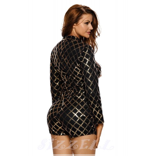 """THE """"AUDREY"""" LUXE LONG SLEEVED SEQUIN ROMPER... BLACK/GOLD..."""