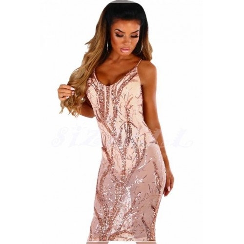 """THE """"KIMMY"""" SHEER & SEQUINS LUXE BODYSUIT DRESS... PINK CHAMPAGNE..."""