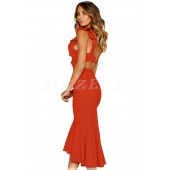 "THE "" ANDI "" PRINCESS RUFFLED  STUNNING CUT OUT BACK LUXE DRESS W/ MERMAID HEM... BURNT ORANGE..."