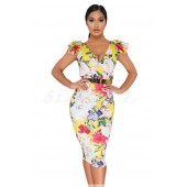 "THE ""LIVVI"" LUXE FLORAL MIDI BODYCON DRESS W/ RUFFLE CAP SLEEVES... YELLOW FLORAL..."