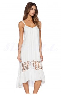 "THE ""GENA""  WHITE FLOWING DOUBLE STRAP DRESS W/ FLORAL CROCHET DETAIL..."