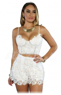 "THE "" ROSARIO"" FLORAL LACE CROP TOP & HIGH WAISTED SHORT SETS..."