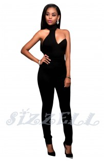 "THE ""AMBER"" CHOKER BODYCON LUX JUMPSUIT... BLACK..."