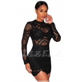 "THE ""RENEE"" LUXE INTRICATE CROCHET LACE BODYCON DRESS... BLACK..."