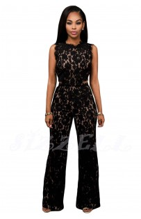 "THE ""AVA"" FLORAL EYELASH LACE JUMPSUIT W/ CUT OUT LOWER BACK DESIGN..."