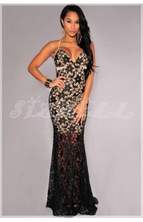 "THE ""KEA""  BLACK LACE NUDE ILLUSION  W/ MERMAID HEM...."