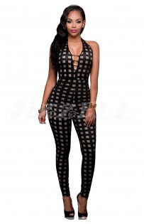 "THE "" SIERRA""  BLACK CAGED LOOK NUDE ILLUSION JUMPSUIT..."
