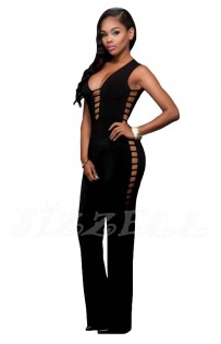 "THE ""BONDI"" DEEP V LATTICE CUT OUT JUMPSUIT..."