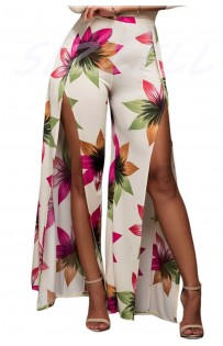"""THE """"AMANDA""""  CREAM FLORAL PRINT HIGH SLIT LUXE TROUSERS..."""