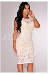 """THE """"AMY"""" FLORAL OPTICAL LACE DRESS... WHITE..."""