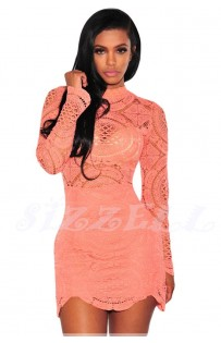 "THE ""RENEE"" LUXE INTRICATE CROCHET LACE BODYCON DRESS...  MELON..."