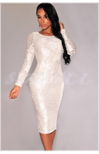 "THE ""LEA"" STUNNING TEXTURED ROSE LACE MIDI DRESS..."