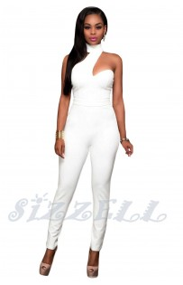"THE ""AMBER"" CHOKER BODYCON LUX JUMPSUIT...  WHITE..."