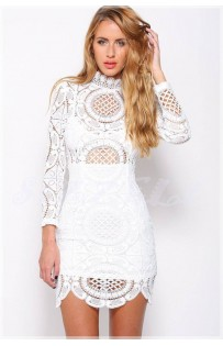 "THE ""RENEE"" LUXE INTRICATE CROCHET LACE BODYCON DRESS...  WHITE..."
