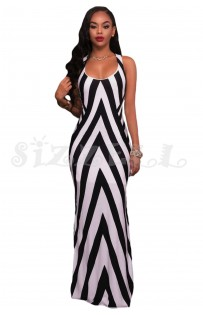 "THE ""EMALIA"" CHEVRON STRIPES LUXE MAXI DRESS W/ CUT OUT DETAILS..."