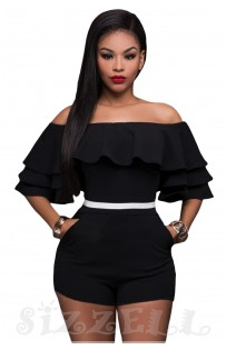 "THE "" RHEA"" RUFFLE OFF SHOULDER LUXE ROMPER... BLACK..."