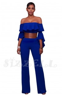 "THE ""MANDY"" RUFFLE OFF SHOULDER LUXURY BELTED JUMPSUIT... ROYAL BLUE..."