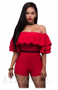 "THE "" RHEA"" RUFFLE OFF SHOULDER LUXE ROMPER... RED..."