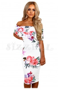 "THE ""BRIANNA"" FLORAL OFF-SHOULDER  MIDI DRESS W/ CUT OUT BACK...  WHITE FLORAL..."